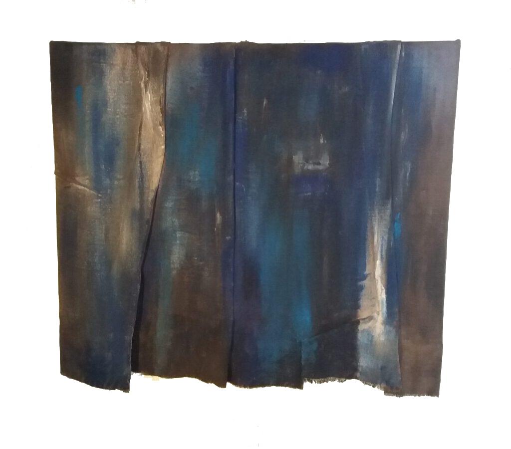 Blue-light, beschilderd textiel, 120 x 105 cm