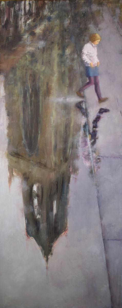 Dommeisje    olie op doek   40x100 cm
