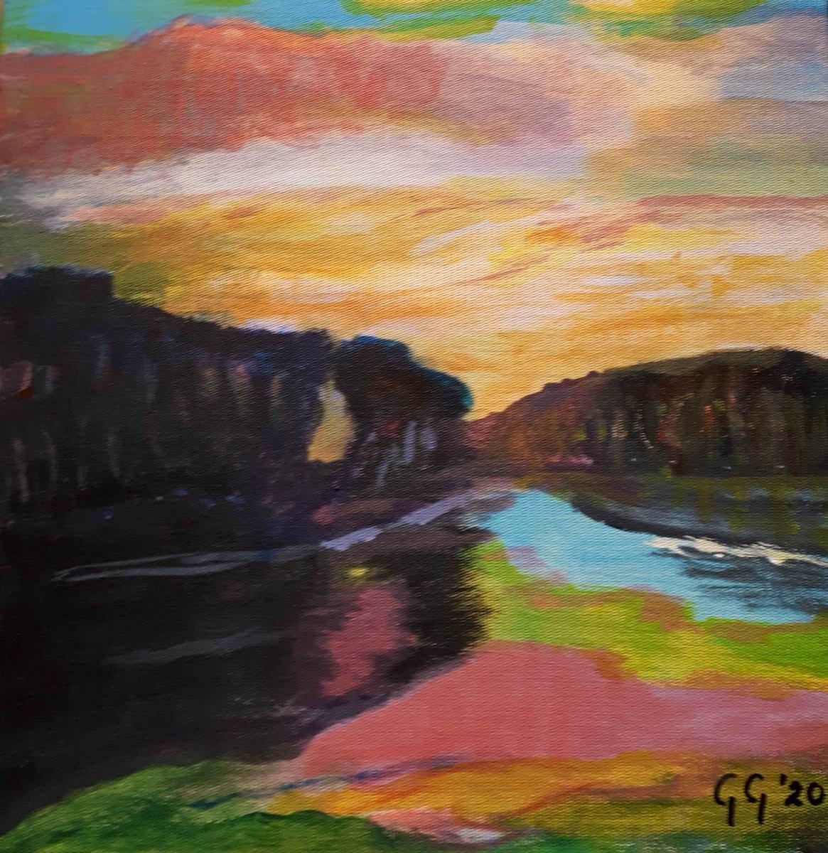 á la vroege Mondriaan, acryl op katoen, 25x25 cm